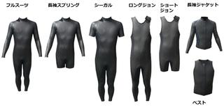 ウェットスーツ種類