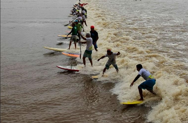 こんな集団でサーフィン?ブラジルポロロッカの波を楽しむサーファー