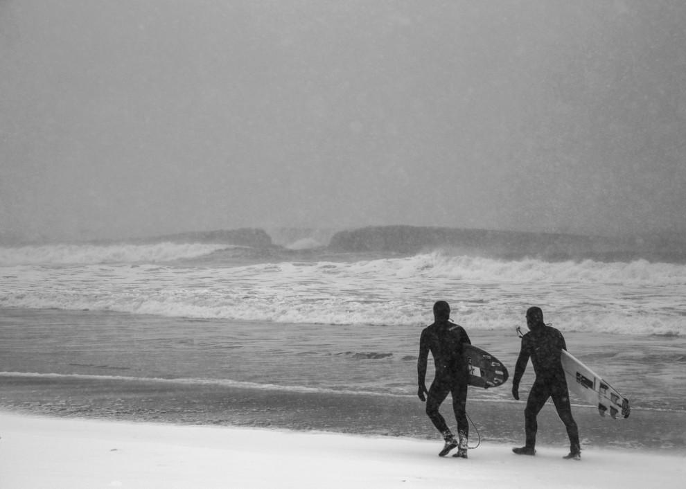 寒波があった、南カリフォルニアのサーフィンの様子