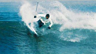 【動画】スキーの板で波と中国の万里の長城など悪路をスキーする!